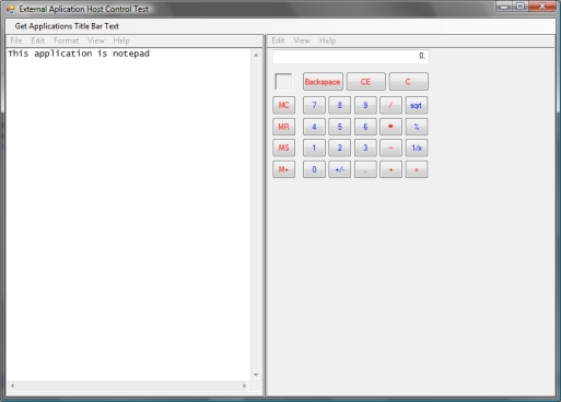 Notepad an Calculator running inside of a .NET Windows Form